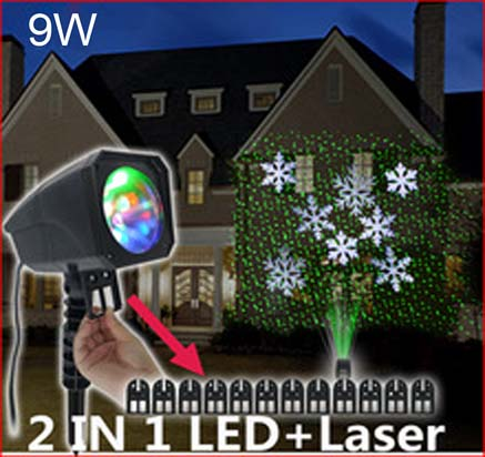 Projecteur de no l laser et led 9w for Projecteur led laser